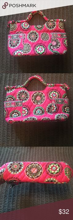 Vera Bradley Gabby Purse- Pink Cupcake Print This adorable purse has barely been used and looks brand new! This is a discontinued print called Pink Cupcake. There are two side pockets on the exterior and a full zip closure. There is one interior zipped pocket and 3 smaller open pockets.  15' wide, 9' tall, 11 1/2' tall from top of straps, 4' wide. Vera Bradley Bags