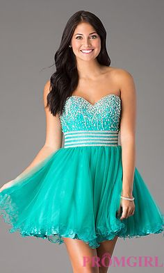 Short Strapless Sweetheart Dress at PromGirl.com