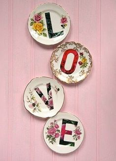love....cute idea for all those plates i see @ garage sales/auctions.....