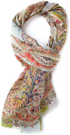 Etro Multicolor Paisley Print Scarf