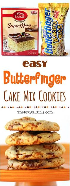Butterfinger Cookies Recipe from this EASY Cake Mix Cookie Recipe has just 4 ingredients and will more than satisfy those cravings for Butterfingers Simple and SO delic. Köstliche Desserts, Delicious Desserts, Yummy Food, Yummy Cookies, Holiday Cookies, Easy Christmas Cookies, Rolo Cookies, Christmas Mix, Candy Cookies