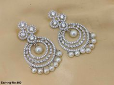 Rama Creations Manufacturer & Wholesalers of Exclusive Imitation Jewellery in India. Diamond Earrings Indian, White Earrings, Stone Earrings, Diamond Jewelry, Diamond Necklaces, Hoop Earrings, Bridal Jewellery Inspiration, Gold Jewellery Design, Bridal Jewelry