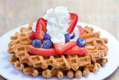 Healthy Waffles – Light, Fluffy, & Fat-Free - Chocolate-Covered Katie