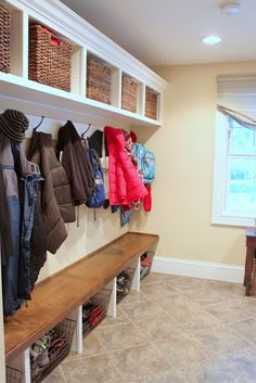 Mudroom bench and shelf overhead - like the bottomless cubbies for shoes (who wants to clean out shoe cubbies?!