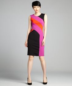 BCBGMAXAZRIA black, fuchsia and neon red jersey 'Gladys' shift dress | BLUEFLY up to 70% off designer brands