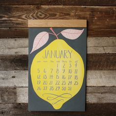 2014 Oversized Wall Calendar HUGE with wood hanger by 1canoe2