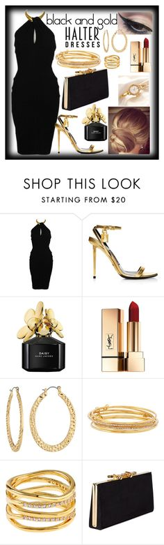 """""""black and gold halter dress"""" by teto000 ❤ liked on Polyvore featuring Donna Karan, Marc Jacobs, Mehron, Fragments, Kate Spade, Accessorize, Jimmy Choo and halterdresses"""