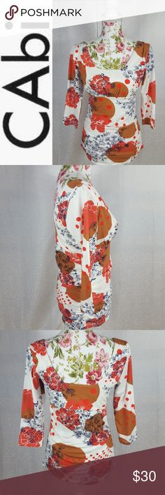 CAbi Rusched Grecian Floral Polka Dot Top Cotton-top is fun and bright for spring! Ruching on sides is ultra form flattering. Three quarter length sleeves. EUC. CAbi Tops