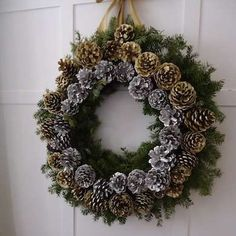 The holidays are right around the corner! Make a DIY holiday pinecone wreath for your front door.