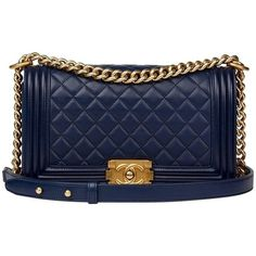 bdd3f2345c63 Preowned Chanel Navy Quilted Lambskin Medium Le Boy Bag ($4,688) ❤ liked on  Polyvore