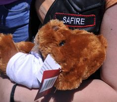 The Connecticut chapter of Bikers Against Child Abuse delivered a teddy bear (filled with hugs of love) and a leather vest to their newest member, 13-year old who chose the road name of Safire.