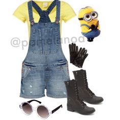 The minion costume from Despicable Me is so cute! How doesn't love those guys?! They are so cheerful and upbeat making the mood fun, quirky, and light!