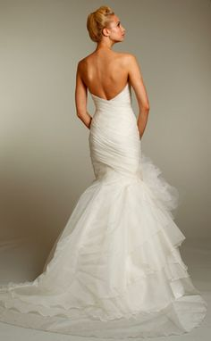 Silk organza irregular tiered, fit & flare, asymmetrical draped bodice and ruffles on the back #JimHjelm