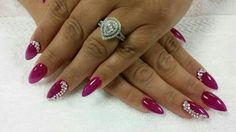 Magenta Stiletto Nails
