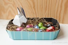 diy paper easter basket with origami bunny