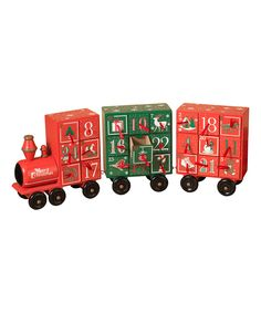 Loving this Red & Green Holiday Train Wood Countdown Calendar Décor on #zulily! #zulilyfinds