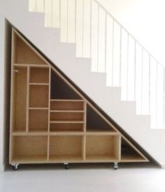 30+ Genius Small Storage Ideas Under The Stairs - 87HomeDesign Staircase Storage, Basement Storage, Basement Stairs, Basement Remodeling, Stair Shelves, Book Shelves, Diy Storage Under Stairs, Diy Understairs Storage, Cabinet Under Stairs