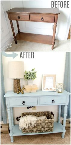 "Beautiful ""beachy"" blue side table makeover with chalk paint. Try Blake & Taylor… Beautiful ""beachy"" blue side table makeover with chalk paint. Try Blake & Taylor Chalk Furniture Paint in 'French Blue' for a slight variation on this project! Refurbished Furniture, Paint Furniture, Repurposed Furniture, Furniture Projects, Vintage Furniture, Furniture Design, Furniture Websites, Rustic Furniture, Modern Furniture"