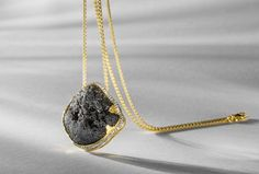 18K yellow gold, black tourmaline and diamond pendant necklace by Jorge Adeler #igorman #jorgeadeler
