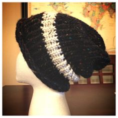 Black Speckled Beanie with White Stripe on Etsy, $15.00