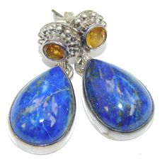 $66.50 Perfect+AAA+Blue+Lapis+Lazuli+Citrine+Sterling+Silver+earrings at…