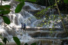 Dunn's River Falls is a famous waterfall near Ocho Rios, Jamaica.