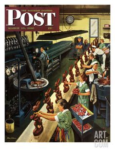 Chocolate Easter Bunnies Saturday Evening Post Cover, March 25, 1950 Giclee Print by Stevan Dohanos at Art.com