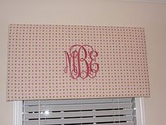 Monogrammed cornice board - oh, how I love this! Wish I had somewhere to use it~