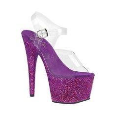 1f8e1c147d33d2 Women s Pleaser Adore 708LG Platform Sandal - Clear Purple Multi Glitter  Sandals Transparente Oberteile