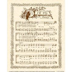 I'LL FLY AWAY  8x10 Antique Hymn Art Print by VintageVerses, $5.00 Natural Parchment Sepia Brown Ink Sheet Music Vintage Look Bird and Vine Some glad morning when this life is o'er