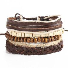 IF YOU Vintage Multilayer Leaf Leather Bracelet Men Punk Wood Bead Bracelets Rope Braided Brinco Christmas Gift Jewelry Bracelets Wrap En Cuir, Layered Bracelets, Braided Bracelets, Bracelets For Men, Fashion Bracelets, Bangle Bracelets, Leather Bracelets, Bracelet Men, Leather Jewelry