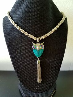 Steam Punk Anti-tarnish coating Sterling silver plated Owl Pendant Necklace