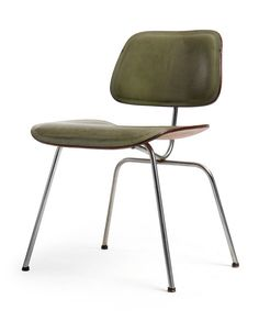Charles and Ray Eames; Leather, Molded Plywood and Chromed Steel DCM Chair for Herman Miller, 1950s.