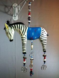 Zebra hat blue blanket decorative hanging glass by MagpieDoodads
