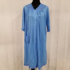 Vintage Shadowline Short Robe Blue 100% Nylon Medium Button Front 3/4 Sleeves #Shadowline