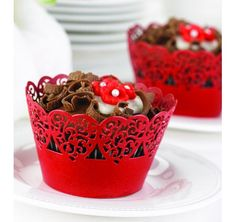 Red Heart Cupcake Wraps for a Cupcake wedding cake.
