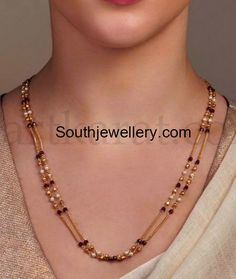 Two Line Simple Black Beads Mangalsutra Chain - Indian Jewellery Designs Pearl Necklace Designs, Gold Earrings Designs, Jewellery Designs, Jewelry Patterns, Necklace Set, Gold Necklace, Gold Wedding Jewelry, Gold Jewelry Simple, Coral Jewelry
