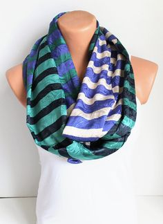I discovered this NEW Infinity Scarf Loop Scarf Circle Scarf Blue Navy Blue Geen Striped on Keep. View it now.
