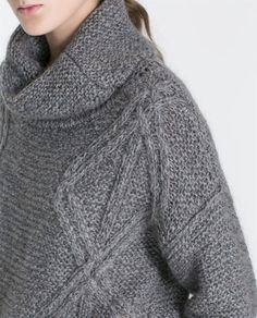 SQUARE CUT CABLE KNIT SWEATER from Zara