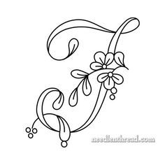 Floral Script Monogram: Letter I Embroidery Alphabet, Embroidery Works, Embroidery Monogram, Embroidery Patterns Free, Embroidery Stitches, Hand Embroidery, Embroidery Designs, Stencil Lettering, Monogram Stencil