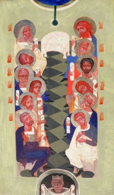 Ulyana Tomkevych: Descent of the Holy Spirit [aka Pentecost] contemporary icon
