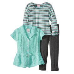Little Lass 3 Piece Cable Knit Peplum Sweater Set - Size 4 NWT Girls #LittleLass #Everyday