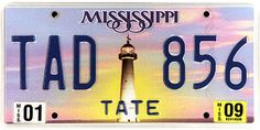 This is the official license plate for the state of Mississippi as it has been officially adopted by the state legislature. Also known as a vehicle registration plate, it is used to identify the car and owner of a motor vehicle or trailer in the state.