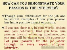 of passion in interview Interview Answers, Interview Skills, Job Interview Questions, Job Interview Tips, Online Interview, Job Interviews, Job Resume, Resume Tips, Cv Tips