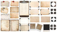 Paper sheets, book, old photo frames corners, clipboard stok fotoğrafı