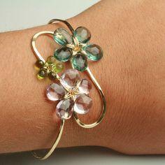 Flower Cuff Bracelet in Pink Amethyst Flourite and by fussjewelry, $178.00