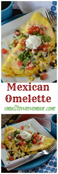the incredible edible egg. This omelette combines the fantastic flavors of black beans, corn, tomatoes, onions and cilantro. It is topped with a dab of Greek yogurt and drizzled with a lightly spiced Queso! You can top it with salsa for even more flavor Egg Recipes, Brunch Recipes, Mexican Food Recipes, Cooking Recipes, Healthy Recipes, Asian Recipes, Breakfast Dishes, Breakfast Time, Breakfast Recipes