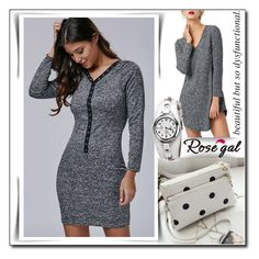 """Rosegal 35"" by fashion-with-lela ❤ liked on Polyvore featuring grey, polkadotbag and whiteandgrey"