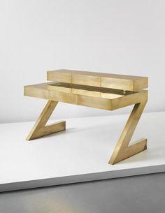 """PHILLIPS : NY050214, Gabriella Crespi, Rare """"Z"""" desk with drawer unit, 1975"""