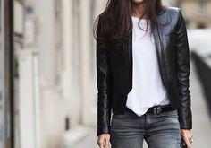 grey jeans, white tee, black leather jacket
